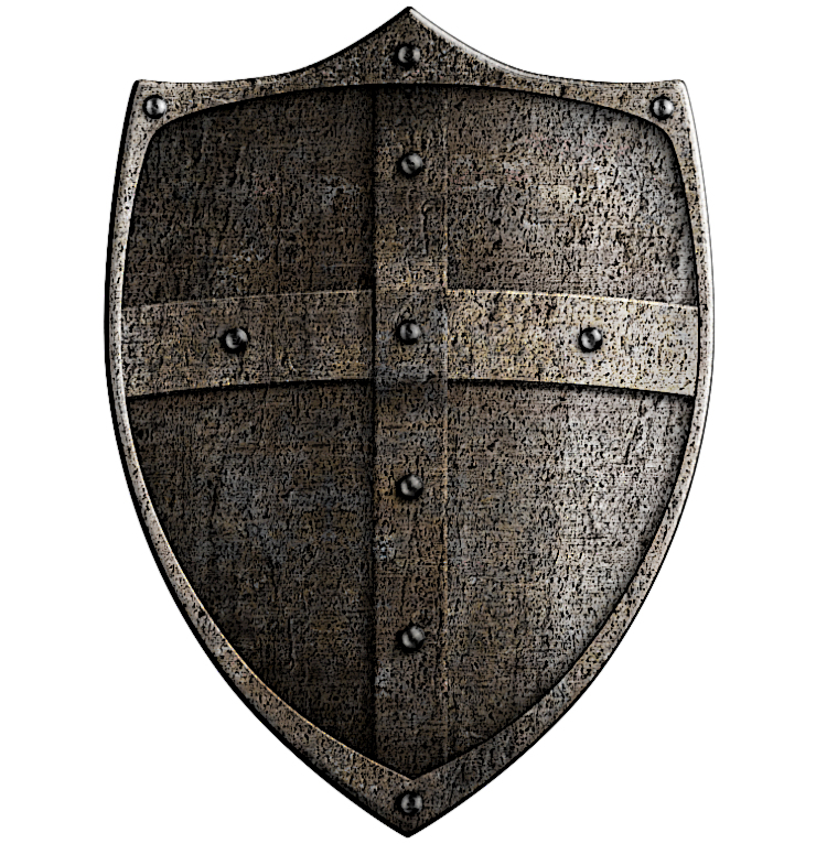 medieval crusader s metal shield isolated with clipping path
