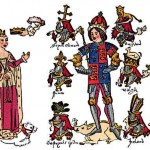 Medieval King Richard III is picture in armor with members of his royal family