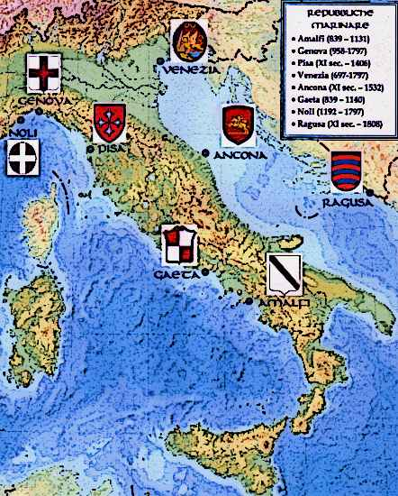 Medieval Map Of Italy.Map Of Medieval Italy Le Repubbliche Marinare Picture